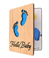 Handmade Real Bamboo New Baby Congratulations,Baby Shower Card Girl (Tiny Feet)