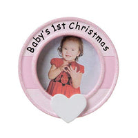 Personalized Baby's 1st Christmas Blue Tree Ornament Picture Photo Frame 2019 - Round Heart Display Memory Milestone God New Mom Shower Holiday Grand-Son Tradition Nursery - Free Customization