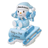 Hobby Home Accessories 2019 New Snow-Baby on Sled Sleigh Personalized Baby`s First Christmas Hanging Tree Ornament New Born Baby Gift-Free Personalized (Blue)