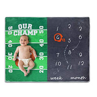 Homegician Baby Monthly Milestone Blanket Photo Prop for Newborn Growth Photography – Baseball Sports Month Blanket for Baby Boy Shower Gift (Baseball)