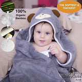 "Premium Hooded Baby Towel, 100% Organic Bamboo, Free Baby Bib or Gloves, Baby Shower Gift, 35x35"" for Newborns Infants Toddlers & Kids, for Boys and Girls at Bath Pool/Beach, Better Than Cotton(Gray)"