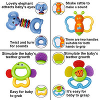 Baby Rattle Sets Teether Rattles Toys, 8pcs Babies Grab Shaker and Spin Rattle Toy Early Educational Toys with Owl Bottle Gifts Set for 3, 6, 9, 12 Month Newborn Infant Baby, Boy, Girl