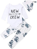 Emmababy Newborn Baby Boys Girls Clothes Daddy's Little Man/New to The Crew Romper +Harem Cotton Long Pants +Hat Outfit