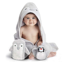 Happy & Sweet baby gift set. Organic bamboo penguin bath towel with hood, mitt washcloth and squirt bath toy for bathtub. Perfect Baby shower gifts for boys and girls. FREE Bonus included