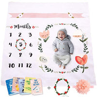 Baby Monthly Milestone Blanket | Throw for Infant & Babies 0-3 Months, 3-6, 6-9, 9-12 Photography Backdrop Photo Prop for Newborn Boy & Girl - New Mom Baby Shower Gift - Blanket Only
