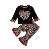 Infant Baby Girls Leopard Clothes Long Sleeve Loveheart Print Ruffle T-Shirt Tops Flared Pants Outfits