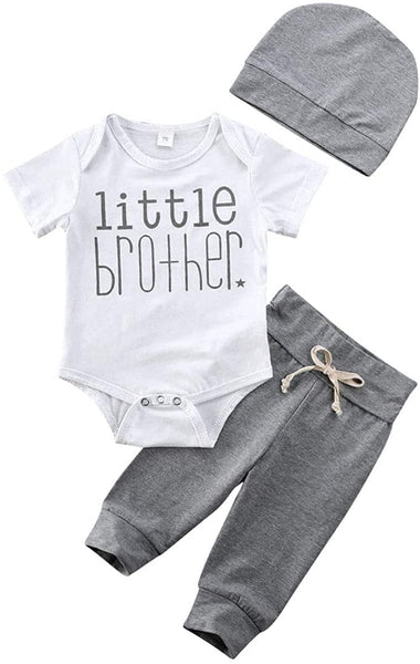 Infant Newborn Baby Boy Cotton Romper Little Brother Long Sleeve Bodysuit + Pants + Hat Outfit Set