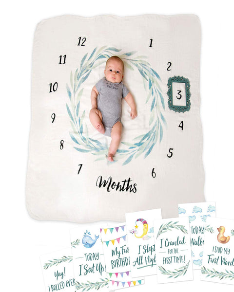 Little Luxury Lane Baby Milestone Blanket Set for Girl or Boy—with 10 Milestone Cards—Unisex Baby Monthly Growth Blanket for Photos—Premium Newborn Babies Gifts