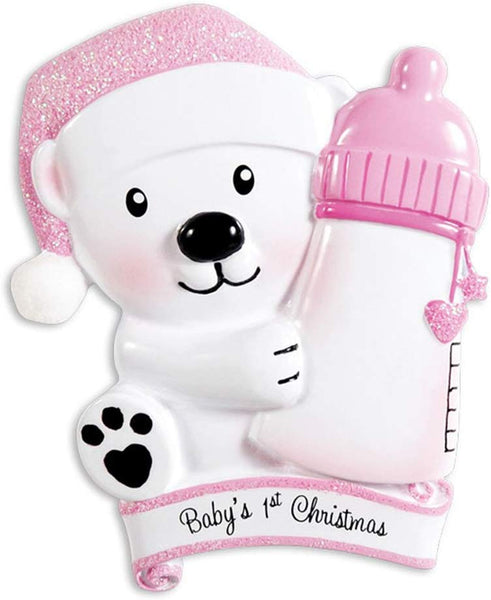 Personalized Baby's 1st Christmas Bear Hold Bottle Tree Ornament 2019 - Polar Girl Glitter Hat Hold Milk Cup Heart Paw Girl's Love New Mom Shower Gift Granddaughter Year - Free Customization (Pink)