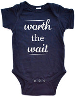 Apericots Cute Worth The Wait Fun Infant Short Sleeve Soft Cotton Bodysuit