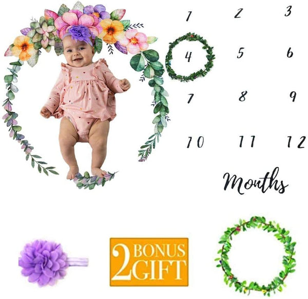 "Lunabea Baby Milestone Blanket, Large 60""x 47"", Soft Floral Monthly Photo Background for Newborn Boy or Girl, New Moms Set, 100% Wrinkle-Free, Bonus Wreath + Headband"