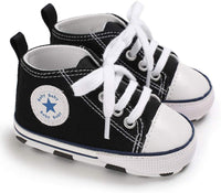 Tutoo Unisex Baby Boys Girls Star High Top Sneaker Soft Anti-Slip Sole Newborn Infant First Walkers Canvas Denim Shoes