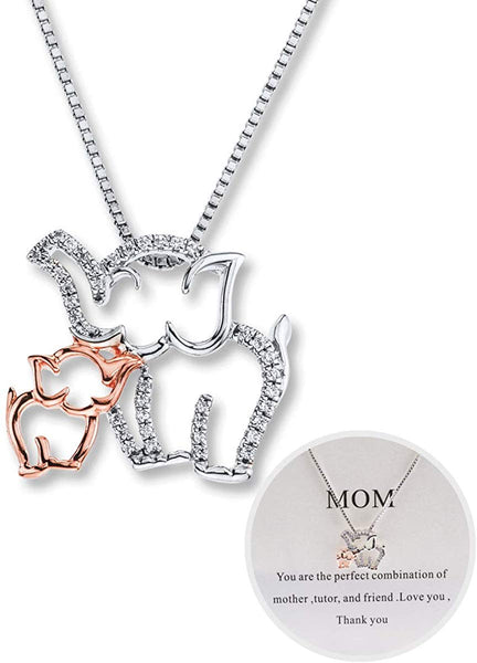 Eluckday Mom and Baby Elephant Necklace for Mother's Day Personalized Mom Necklace Elephant Charm Necklace for Women Rose Gold and White Gold Design for Mom