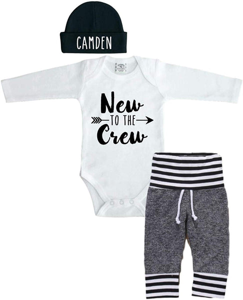 Sweet Youngster Personalized 0-3 Month Bodysuit with Beanie and Pants. Newborn Baby Outfit