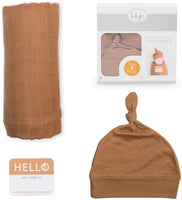 lulujo Baby Hat & Swaddle Blanket Set| Ultra Soft Hat| Silky Soft Bamboo Muslin Swaddle| Newborn Baby Girl + Boy Tan