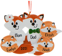 Personalized Red Fox Family of 5 Christmas Tree Ornament 2019 - Cute Parent Child Hug Together Winter Eve Holiday Grandkid Gift Tradition New Mom Dad Baby First Gift Year - Free Customization