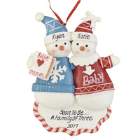 "A Pregnant Couple Personalized Christmas Ornament - Calliope Designs - Soon to Be A Family of 3-2019 - 5"" Tall - Free Customization"