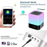Aisuo Night Light - 5 in 1 Bedside Lamp with Bluetooth Speaker, 12/24H Digital Calendar Alarm Clock, Touch Control & 4000mAh Battery, Support TF and SD Card, The Best Gift for Kids and Friends.