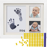 Baby Ink Hand and Footprint Kit – Handprint Picture Frame for Newborns (Safe Clean-Touch Ink Pad for Prints) – Best New Mom and Shower Gift – Foot Impression Photo Keepsake for Girls & Boys – (White)