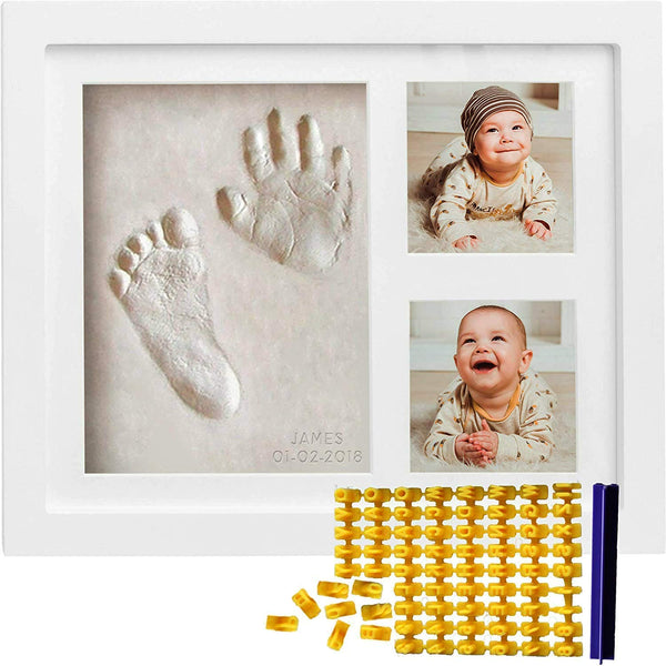 Co Little Baby Handprint & Footprint Kit (Date & Name Stamp) Clay Hand Print Picture Frame for Newborn - Best New Mom Gift - Foot Impression Photo Keepsake for Girl & Boy - White Feet Imprint Mold