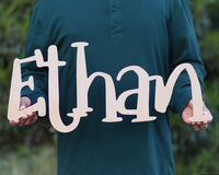 Custom Boys Name Nursery Wooden Sign, Ethan Font Personalized Nursery Decor, New Baby Gift, First Name Wood Cutout, Personalized Kids Room Sign Decor