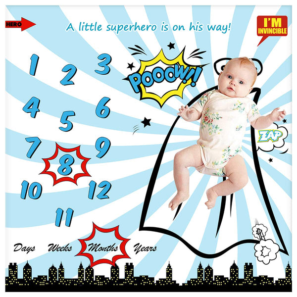 "Baby Monthly Milestone Blanket for Newborn Boy & Girl, Personalized Infant Swaddle Receiving Blankets Photography Backdrop Photo Prop - New Mom Baby Shower Gifts + Frame (Superhero Blanket, 40"" x 40"""