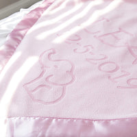 Custom Catch Personalized Elephant Baby Blanket for Girl - Newborn or Infant Name Gift - Pink or Blue (2 Lines of Text)