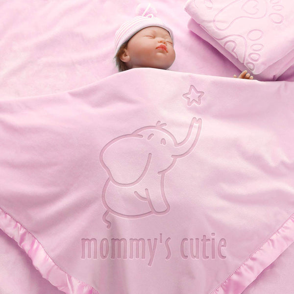 AW BRIDAL Elephant Baby Receiving Blankets (Pink) Personalized Baby Gifts for Boys Girls Newborn Shower Gifts Baby Stuff Toddler Crib Bedding Blankets-36X36Inch