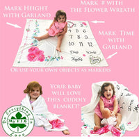 Baby Monthly Milestone Blanket for Girl | Growth Height Tracker | Soft Large Backdrop | Bonus Floral Wreath & Garland | Best Baby Shower Gift for New Mom | Newborn Photo Memory Templates for Stickers