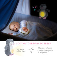 Baby Shower Gifts with Night Light Sleep Aid, Soother White Noise Sound Machine with 40 Lullabies, New Baby Gift Smart Sleep Soother Portable Soft Stuffed Animal for Babies(9.5in)
