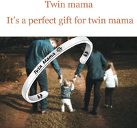 Lywjyb Birdgot New Mom Gift Twin Mom Gift Gift for Mom of Twins Baby Feet Jewelry Twin Mama Gift Mommy to Be Gift for New Mom