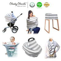 Organic Cotton  Nursing Breastfeeding Cover Scarf, Baby Car Seat Canopy, Canopies, Shopping Cart, Stroller, Carseat Covers for Girls and Boys Best Multi-Use Infinity Stretchy Shawl Shower Gifts