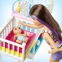 Barbie Nursery Playset with Skipper Babysitters Inc. Doll, 2 Baby Dolls, Crib and 10+ Pieces of Working Baby Gear and Themed Toys, Gift Set for 3 to 7 Year Olds