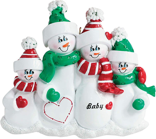 Personalized Expecting Snow Family Christmas Tree Ornament 2019 - Pregnant Snowman Heart 2 Children Love Bump New Baby Coming Shower Boy Girl Gender Neutral 3rd Third Gift Year - Free Customization