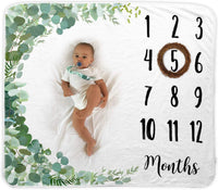 Baby Monthly Milestone Blanket | Includes Wooden Wreath and Pacifier Clip | 1 to 12 Months | Premium Extra Soft Fleece | Best Photography Backdrop Prop for Newborn Boy & Girl