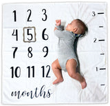 Baby Monthly Milestone Blanket | Includes Picture Frame and Ruler | 1 to 12 Months | 100% Organic Cotton | Best Baby Shower Gift | Photography Backdrop Photo Prop for Newborn Boy and Girl