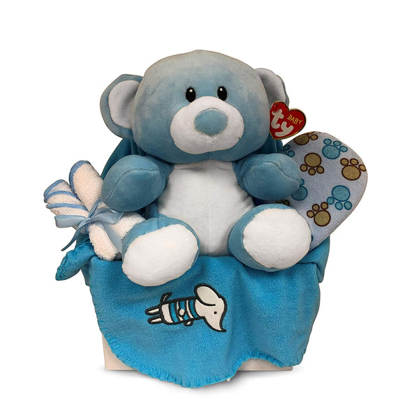 Newborn Baby Boy Gift Basket with Fleece Blanket, TY Plush Teddy Bear, 3 Washcloths and Bathtime Accessory - Expecting Moms, Parent, Infants, Toddlers - by Pellat Cornucopia