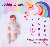 Kiddy Bliss Baby Monthly Milestone Blanket Girl - Large Baby Month Blanket for Baby Pictures, Baby Age Blanket, Milestone Unicorn Blanket are Great for Newborn Girl, Include Props and Headband