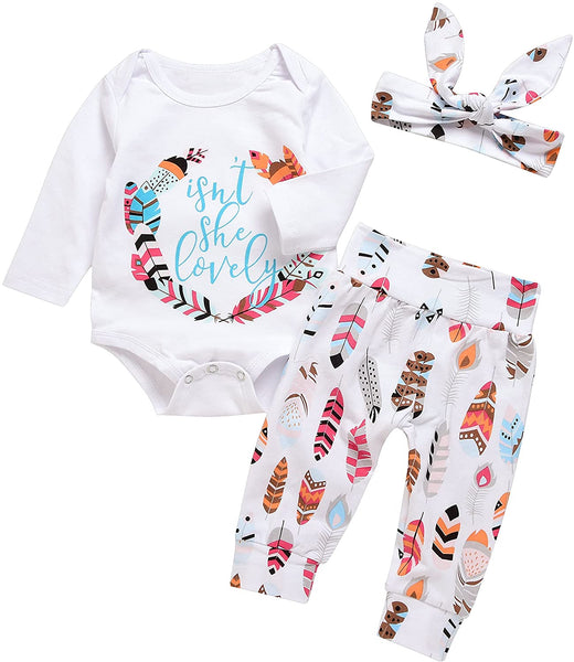MEKILYN 3Pcs Baby Boy Girls Print Long Sleeve Letters Romper+Leaves Pant+Bunny Headband Winter Outfit