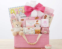 Newborn Baby Gift Basket The Bundle of Joy Pink Newborn Baby Girl Gift Basket Congratulations Baby Shower Gift Welcome Home by Wine Country Gift Baskets