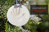 Baby Handprint Footprint Keepsake Ornament Kit (Makes 2) - Bonus Stencil for Personalized Newborn New Mom & Shower Gifts. 2 Display Stands! Non-Toxic Air Dry Clay. Dries Light & Soft, Won't Crack.
