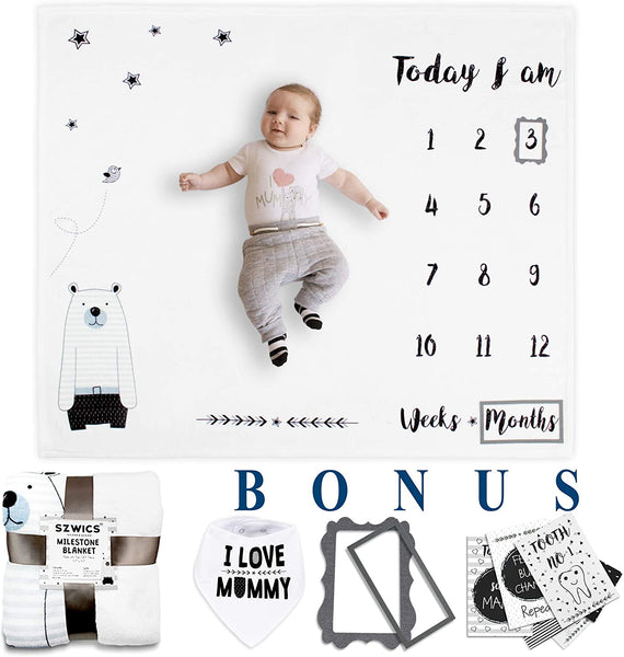 Baby Monthly Milestone Blanket with Milestone Cards, Bib & Frames for Boy or Girl. Baby Shower & Newborn Gifts. 100% Pure Fleece Extra Soft & Large. 1 to 12 Months. Photography Backdrop Photo Props
