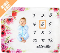 "Pamperous Baby Monthly Milestone Blanket twins-100% Organic, Photo Backdrop Prop, Extra Thick 60"" X 40"" Newborn Reversible Swaddle, Nursing Cover, Bed Blanket, Unisex Twins Baby Gift"