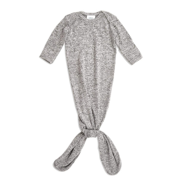 aden + anais Snuggle Knit Knotted Newborn Baby Gown, Super Soft and Stretchy Infant Sleeper with Mitten Cuffs, 0-3 Months, Heather Grey