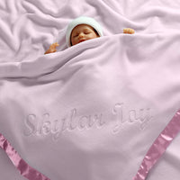 Custom Catch Large Personalized Baby Blanket (Pink) - 36x36 Inch, Satin Trim, Fleece