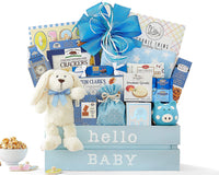 Newborn Baby Boy Gift Basket Welcome Home Baby Boy Congratulations Newborn Baby Blue New Arrival Baby Shower Gift by Wine Country Gift Baskets