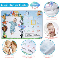 Geele Baby Monthly Milestone Blanket Boys & Girls - Soft Fleece with 2 Markers - Large Animal Photography Background Blanket for Infants & Newborns - 60 x 40 in - 1 to 12 Weeks & Months