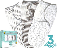 Soultisfy Baby Swaddle Wrap Sack (Set of 3) for Newborn and Baby (0-3 Months) Breathable Soft Cotton - Gray Unisex Design for Boy & Girl - Adjustable Infant Swaddle Blanket Baby Wrap