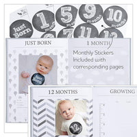 Baby Memory Book Journal with Monthly Milestone Stickers and Congratulation Card, Unisex Linen Wrapped First Year Photo Album Keepsake Baby Shower Gifts