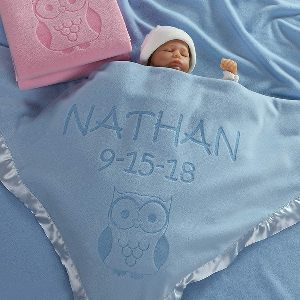 Custom Catch Personalized Owl Baby Blanket Gift for Boy - Infant or Newborn Name (2 Lines of Text)